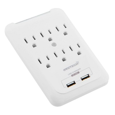 6-Outlet Surge Protector Wall Mount Adapter with Dual 3.1A USB Charging Ports,Oviitech Multi Plug Outlets,6 AC Socket Outlet Plugs,900 Joules Surge Suppression,White, ETL Certified