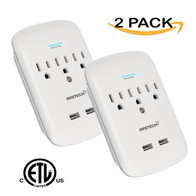 OviiTech Multi-Functional Surge Protector Wall Mount Outlet 3-Outlet Plug and Dual 2.4A USB Charging Ports,Socket Outlets Adapter,White,2 Pack