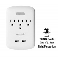 Auto LED Sensor Light Perception,Multi Outlets Surge Protector Wall Tap, 3-Prong USB Wall Mount Outlet Power Plug Extender with Dual (2.1A) USB Charging Ports,Wall Outlet Adapter,White,ETL Listed