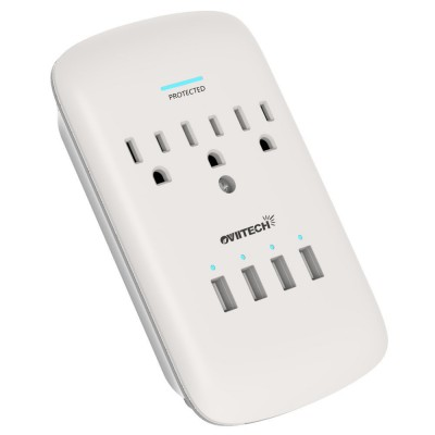 Multi-function Wall Mount USB Outlet Adapter, Surge Protector Charging Station, OviiTech 4 (4.2A shared) USB Charging Ports,3 AC Socket Outlet Plugs,White,ETL Certified 4.1 out of 5 stars