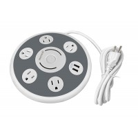 OVIITECH Smart UFO Shape Charging Station,Surge Protector Multi-Outlet Power Strip with 5 Ac Plugs and 2 USB Charging Ports Socket,Home/Office Use,ETL Certified, White,3 Foot Cord.