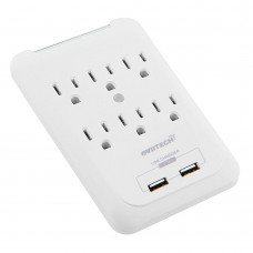 OVIITECH Multi-function Wall Mount Adapter, Surge Protector Charging Station, Dual 2.1AMP USB Charging Ports,6 AC Socket Outlet Plugs,White