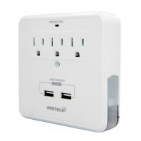 OVIITECH OviiTech Multi-functional USB Outlet,Surge Protector with Dual (2.1A total) USB Charging Ports, 3 AC Socket Plugs and 2 Slide Out Phone Holders,Home/Office Wall Tap, ETL/CETL Certified